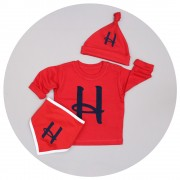 Malcolm & Gerald Personalised Initial T-Shirt, Hat And Bib Set